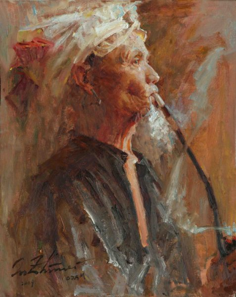 smoking-oil-30x24in-2009-2